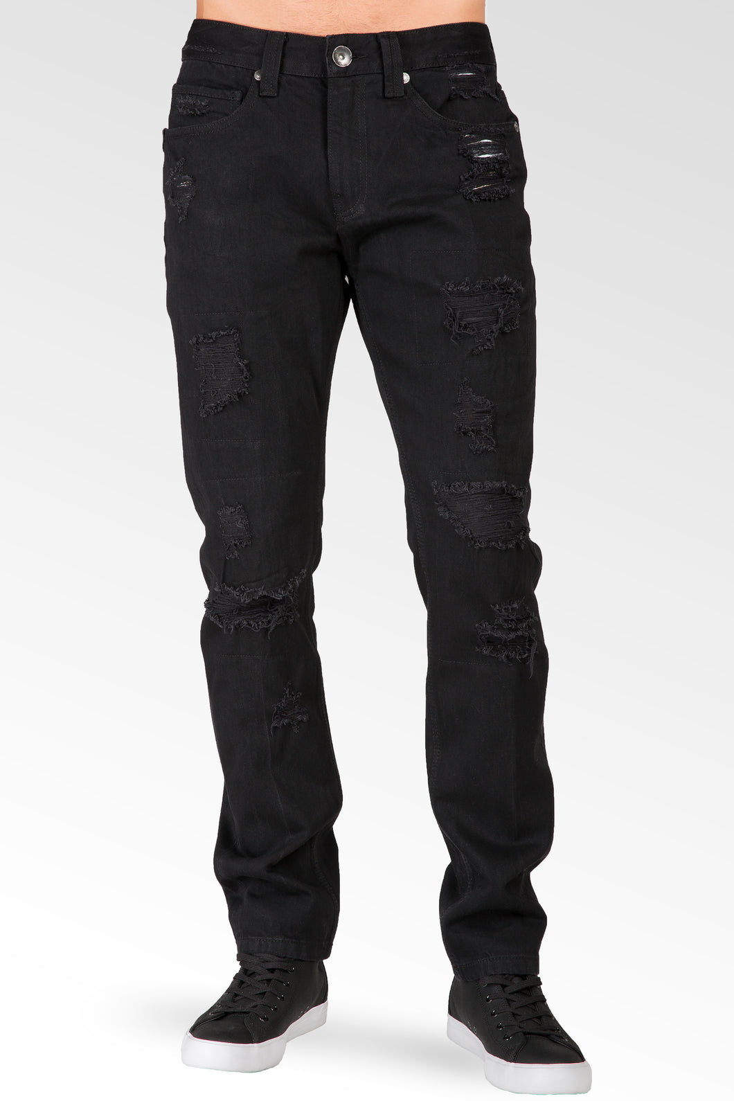 Slim Tapered Leg Overdyed Black Premium Denim Jean Mended Broken Holes