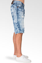 Premium Denim Distressed & Mended Cut Off Shorts Bleach Splatter & Raw Edge