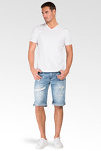 Light Sanded Blue Relaxed Premium Denim Cut Off Shorts Distressed Mended Raw Edge
