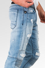 Slim Tapered Leg Premium Knit Denim Bleached Blue Moto Jeans Distressed & Mended