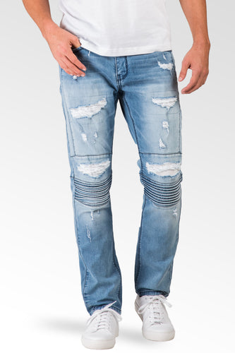 Slim Tapered Leg Premium Knit Denim Bleached Moto Jeans Distressed Mended