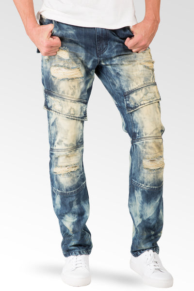 Slim Straight Premium Denim Tainted Front Cargo Pocket Jeans Ripped Mended
