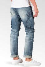 Slim Straight Premium Denim Distressed Cargo Pocket Jeans Intense Blast