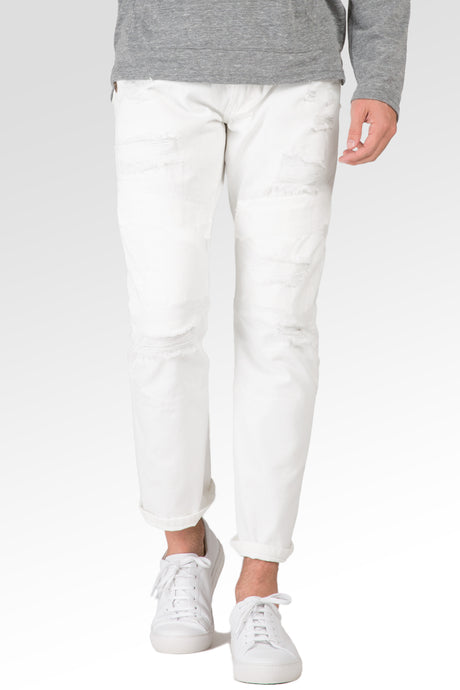 Slim Straight Distressed & Mended White Premium Denim 5 Pocket Jeans