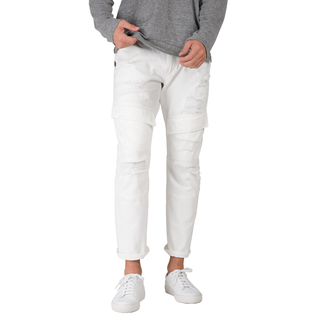 Slim Straight Distressed & Mended White Premium Denim Front Cargo Pocket Jeans