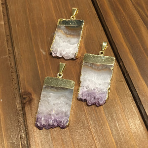Amethyst Geod Slice Pendant, Gold Filled