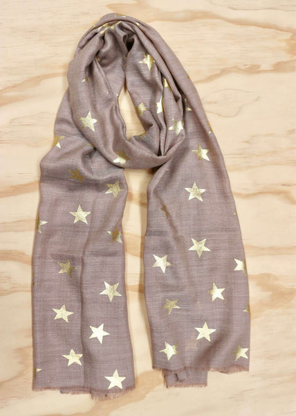 Linen with Gold Foil Stars Scarf - Wool Blend