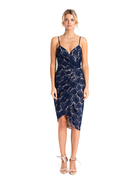 Lamour Drape Dress - Navy