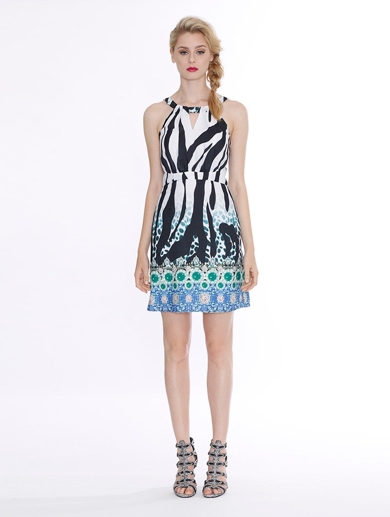 Zebra Crossing Mini Dress - Print