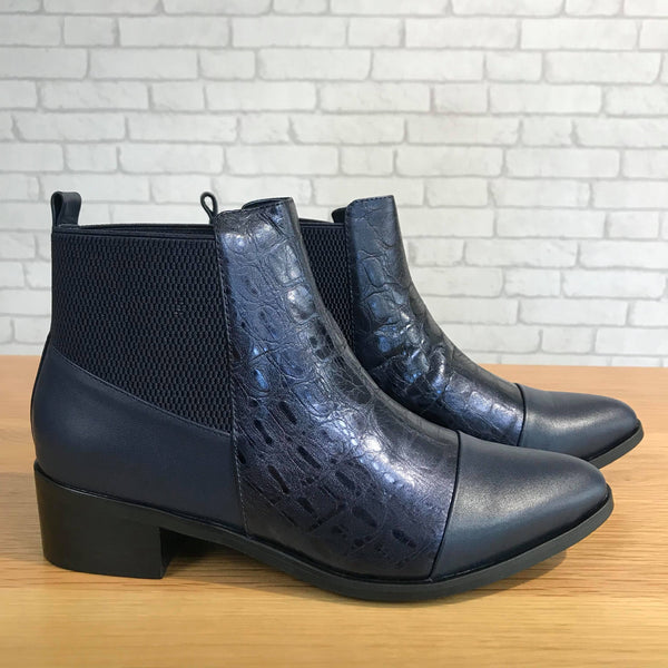 Solei Ankle Boots - Navy Shimmer Croc