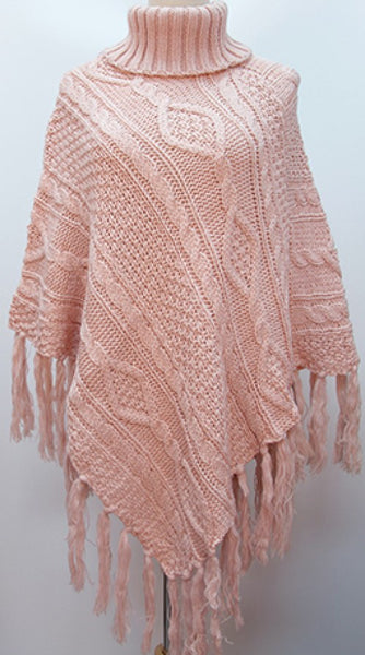 Cable Knit Poncho with Rolled Collar