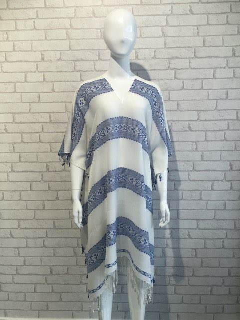 Embroidered Striped Fringed Kaftan - Blue/Off White