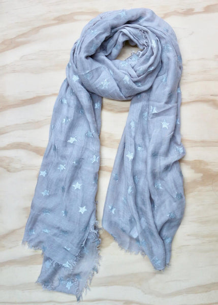 Grey with Silver Foil Stars Scarf