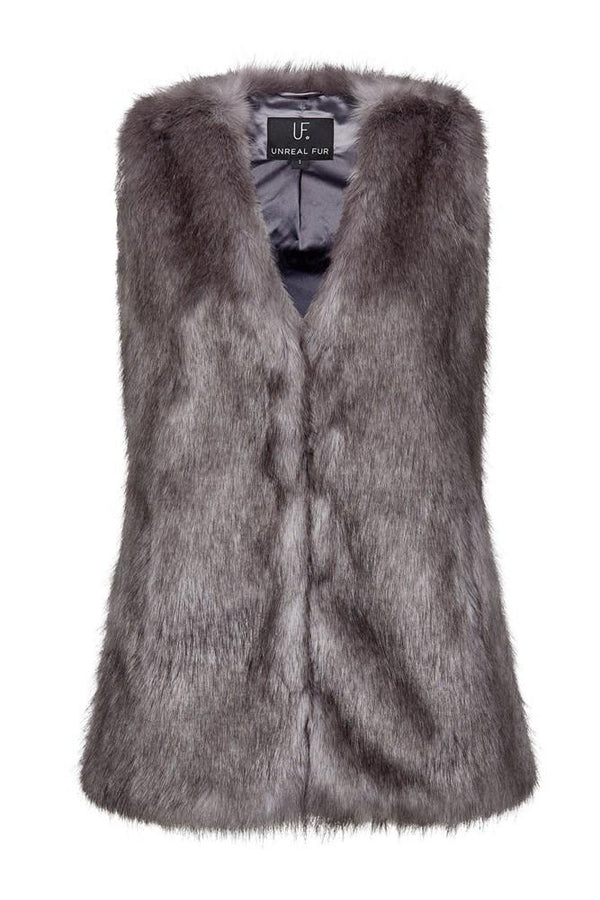 Fur Play Vest - Silver Moon