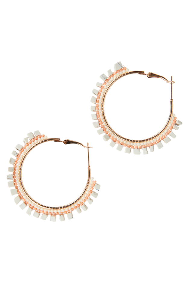 Society Hoop Earrings - White/Peach
