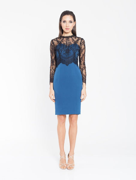 Clara Long Sleeve Lace Dress - Teal