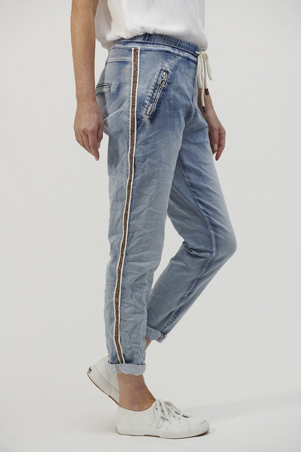 PRE ORDER Denim Joggers with Gold Trim - Light Blue / Gold