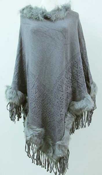 Poncho with Faux Fur & Fringe