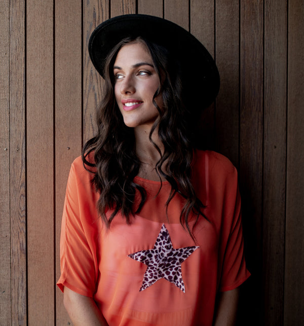 Star Short Sleeve Top - Orange