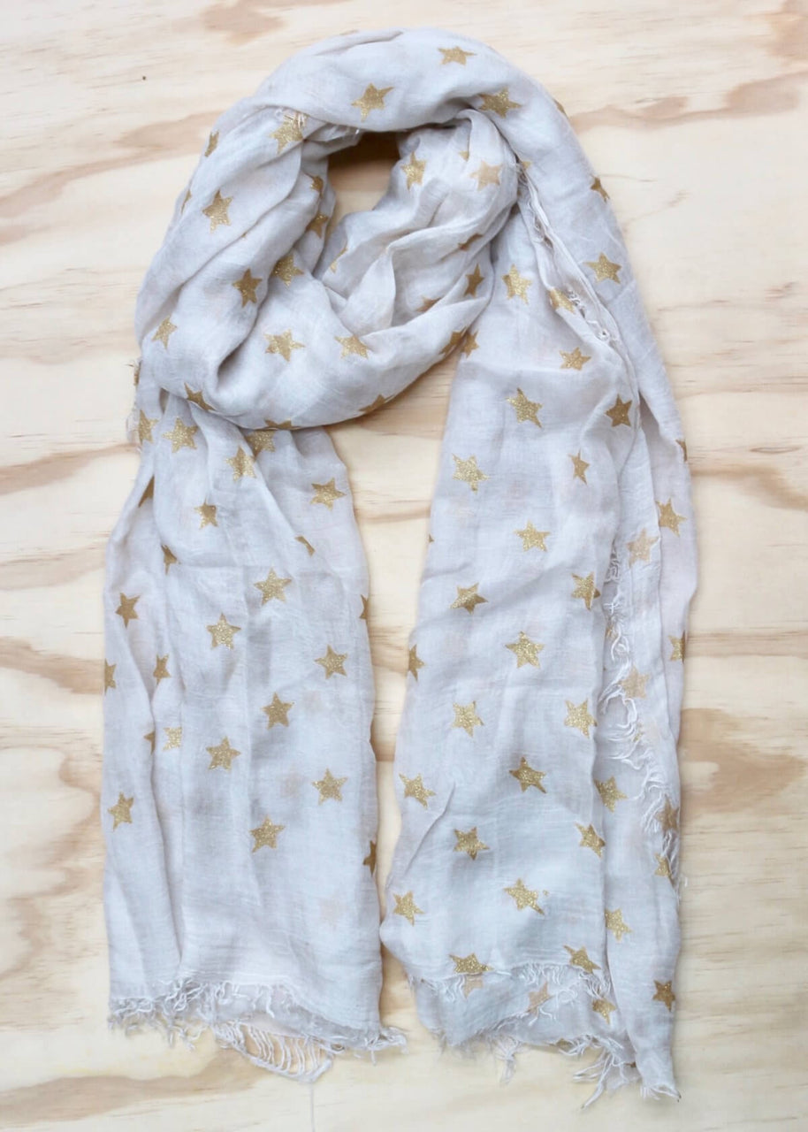 Beige with Gold Foil Stars Scarf