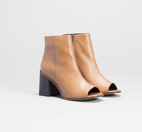 Terra Peep Toe Boots - Tan / Charcoal