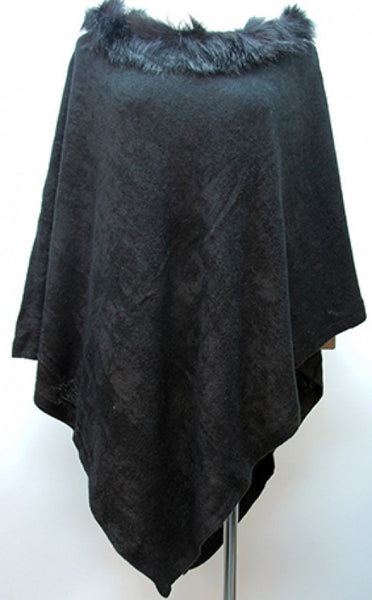 Poncho with Faux Fur Collar