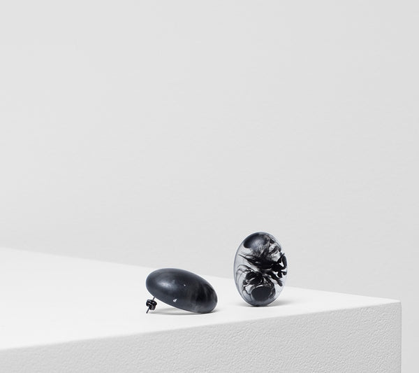 Organisk Bead Earrings - Black Matte