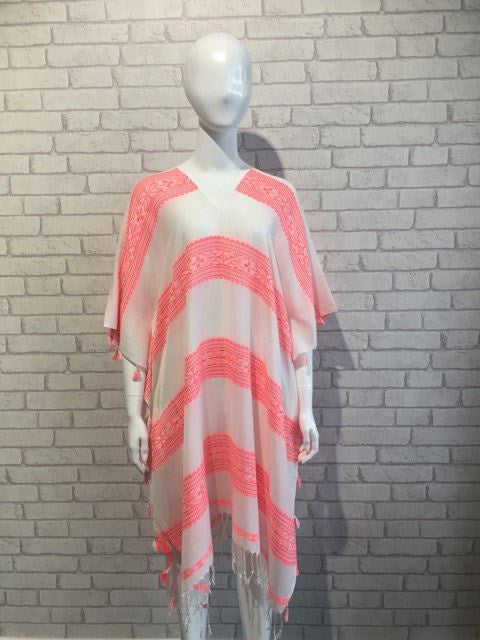 Embroidered Striped Fringed Kaftan - Coral/Off White