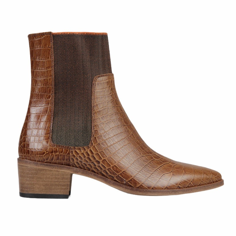 Winter Ankle Boots - Tan Penelope Croc