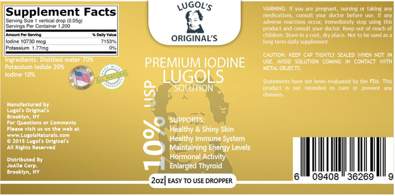10% Lugols Iodine Solution Drops Thyroid Support Supplement 2oz-Lugols Solution-Lugol's Originals-Lugols Originals
