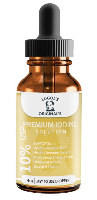 10% Lugols Iodine Solution Drops Thyroid Support Supplement 4 oz-Lugols Solution-Lugol's Originals-1 Pack-Lugols Originals