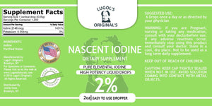 2% Nascent Iodine Liquid Drops Thyroid Support Supplement 2oz - Lugols Originals