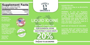 20% Liquid Iodine Drops Thyroid Support Supplement 2oz - Lugols Originals