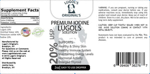 20% Lugols Iodine Solution Drops Thyroid Support Supplement 2oz - Lugols Originals