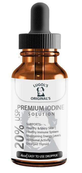 20% Lugols Iodine Solution Drops Thyroid Support Supplement 4 oz-Lugols Solution-Lugol's Originals-1 Pack-Lugols Originals