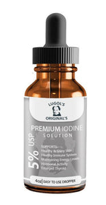 5% Lugols Iodine Solution Drops Thyroid Support Supplement 4 oz - Lugols Originals