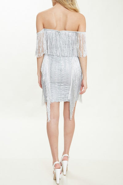 MILLIE SILVER FRINGE DRESS