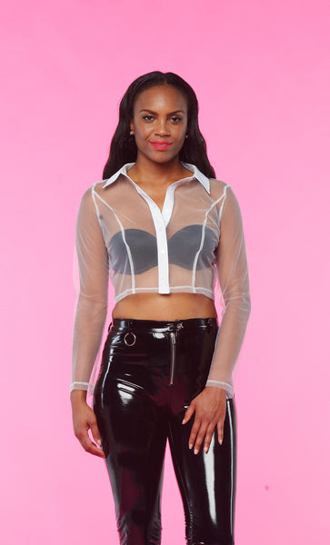 SHEER CROP BUTTON UP TOP (WHITE)