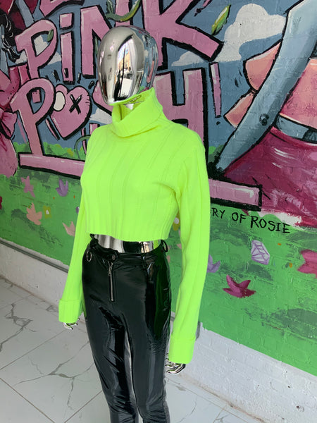 Neon Turtle Neck Crop SWEATER (Green)