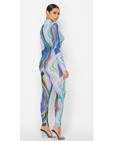 Abstract Sheer Jumpsuit