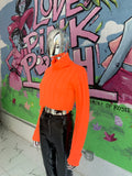Neon Turtle Neck Crop SWEATER (Orange)