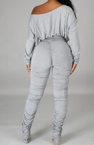 Heather Stretch Pants Set (Grey)