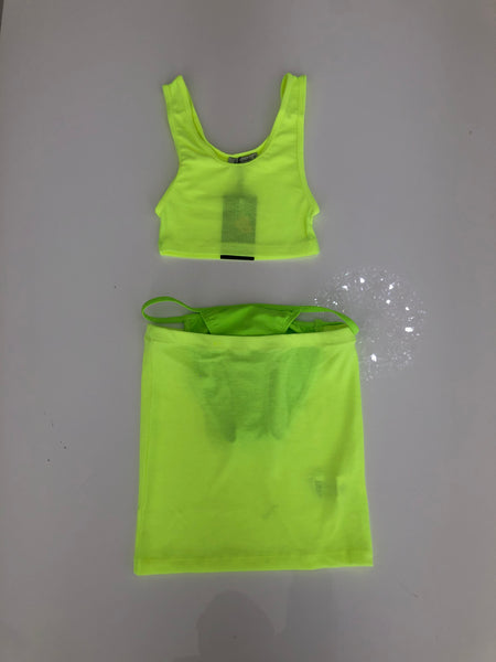 NEON GREEN KNICKNACK SKIRT SET