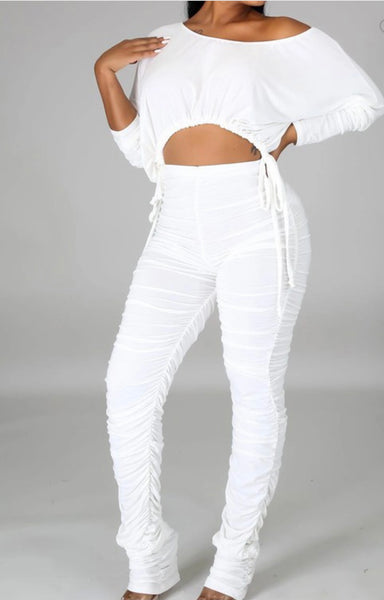 Heather Stretch Pants Set (Ivory)