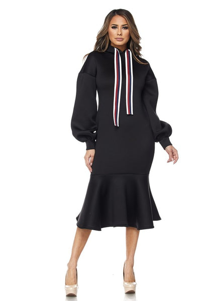 NADIRA BLACK HOODIE DRESS