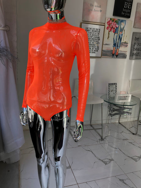NEON ORANGE  BODY SUIT