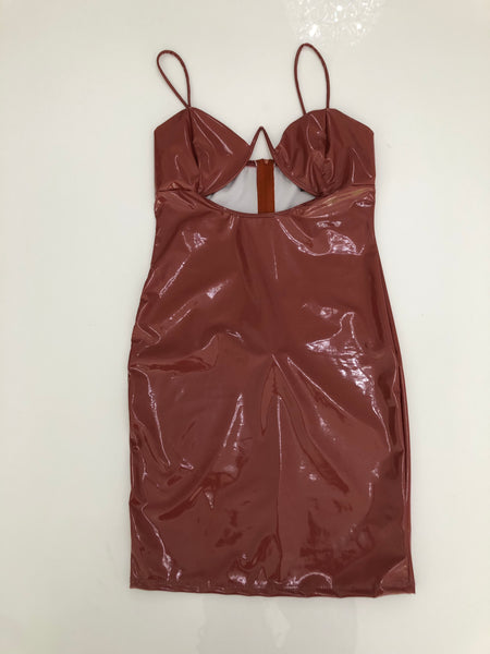 KYRIE LATEX DRESS (BRICK)