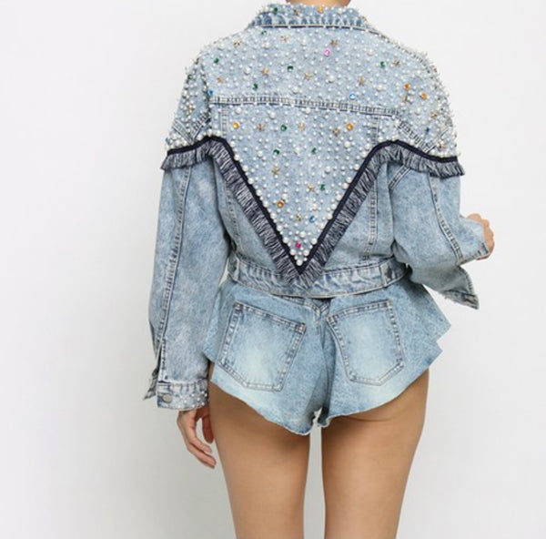 Rich Pearl Denim Jacket