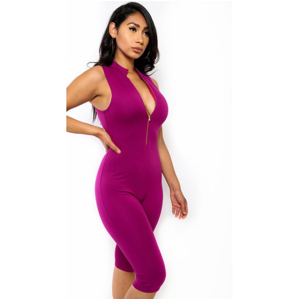 None of Your Concern Jumpsuit (Magenta)