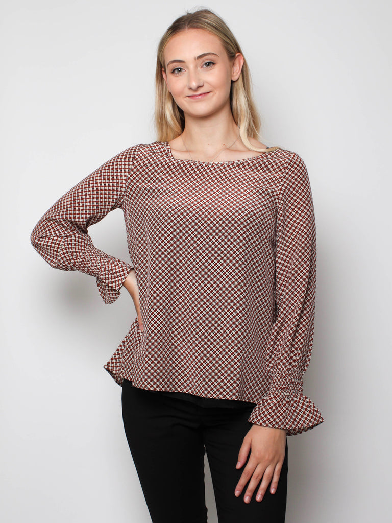 Ani Shirt - Coffee Grid